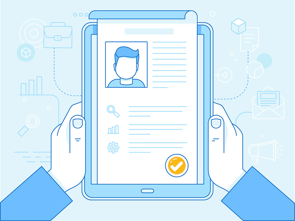 Vector image of hands holding a resume on a tablet