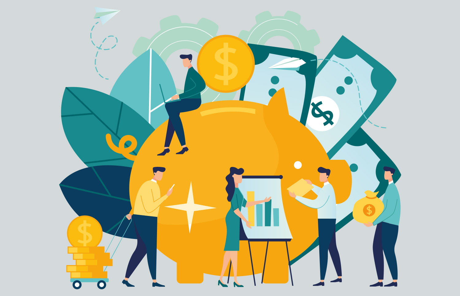 Vector Illustration of Business People Budgeting for Their Company