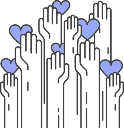 A vector of several hands holding up hearts