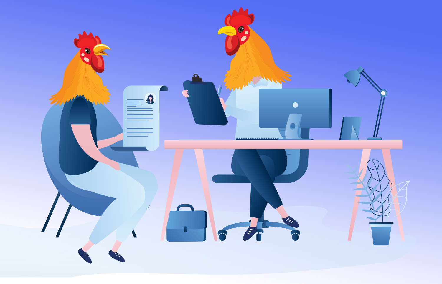 Illustration of Two Chickens in an Interview